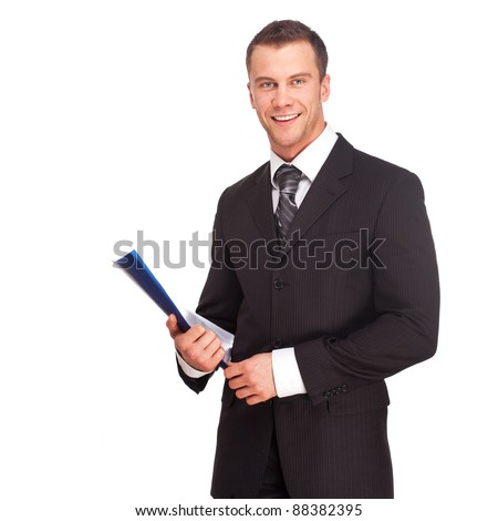 Portrait of a business man with documents isolated on white background. Studio shot. - stock photo