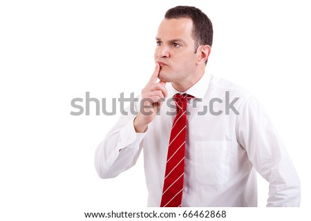 Portrait of a business man worried, isolated on white background. Studio shot. - stock photo