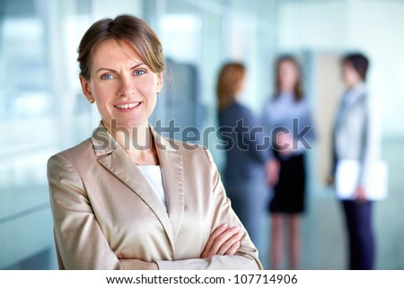 Portrait of a business woman on a good working day - stock photo