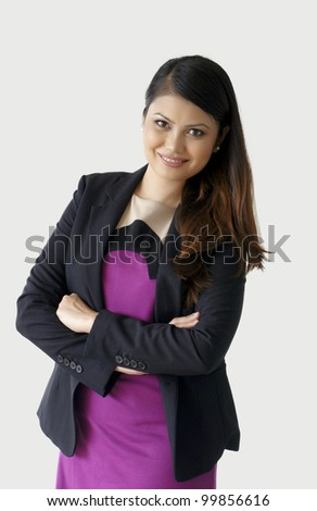 Portrait of a business woman standing - stock photo