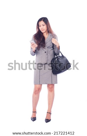 Portrait of a business woman talking on the phone, isolated on white background - stock photo