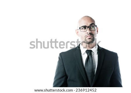 Portrait of a businessman looking upwards isolated on white - stock photo