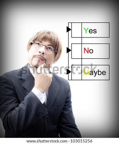 Portrait of a Businessman   thinking how to choosing yes,no,maybe Colors - stock photo