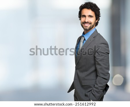 Portrait of a businessman with copyspace - stock photo