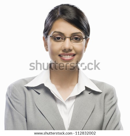 Portrait of a businesswoman against a white background - stock photo