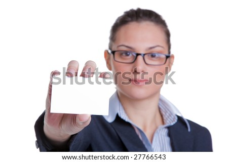 Portrait of a businesswoman presenting her business card, focus on card, isolated on white background - stock photo