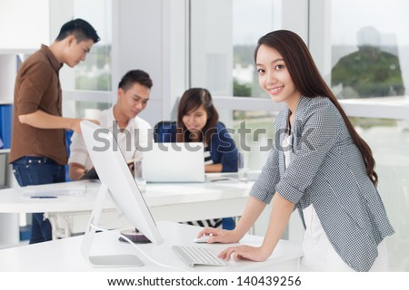 Portrait of a businesswoman smiling and looking at camera
