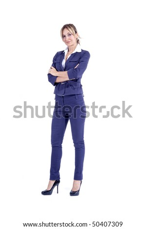 Portrait of a businesswoman smiling over white background - stock photo