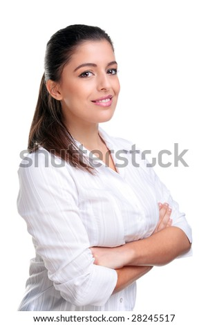 Portrait of a businesswoman with her arms folded, isolated on white background.