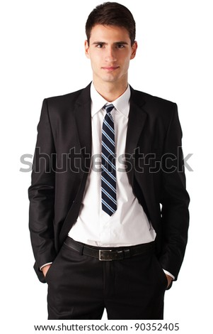 portrait of a casual business man standing against white background