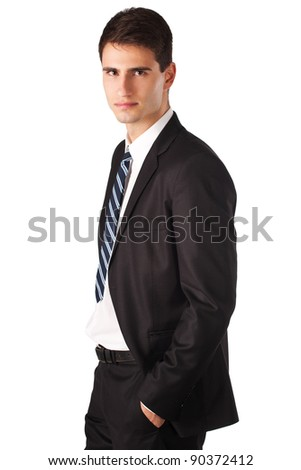 Portrait of a casual business man standing against white background - stock photo