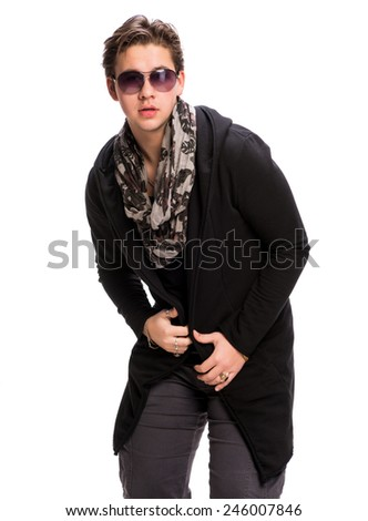 Portrait of a casual young man in sunglasses on a white background - stock photo