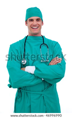 Portrait of a charismatic surgeon against a white background - stock photo