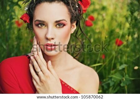 Portrait of a charming brunette beauty - stock photo