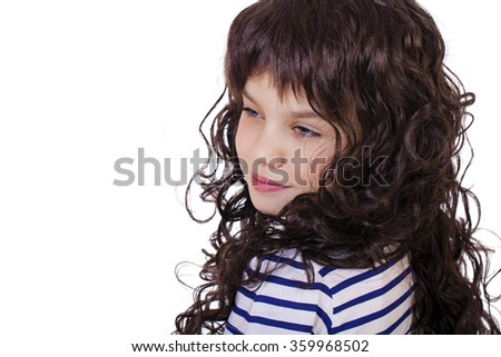 Portrait of a charming little girl smiling at camera, isolated on white background - stock photo