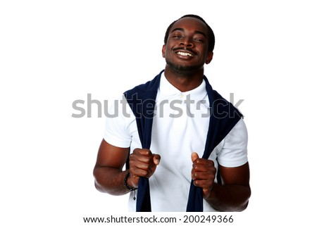 Portrait of a cheerful african man on gray background
