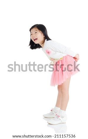 Portrait of a cheerful asian kid - stock photo