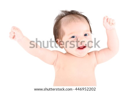 Portrait of a cheerful baby with hands raised, isolated on white background - stock photo