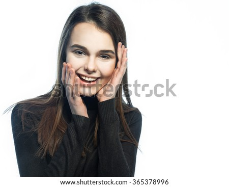 Portrait of a cheerful girl on the white background - stock photo