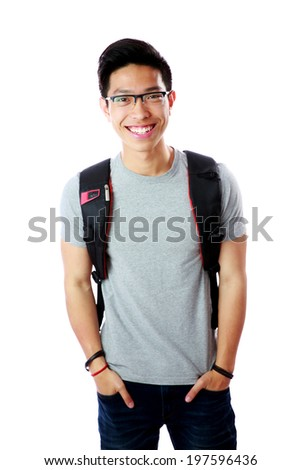 Portrait of a cheerful student with backpack over white background - stock photo