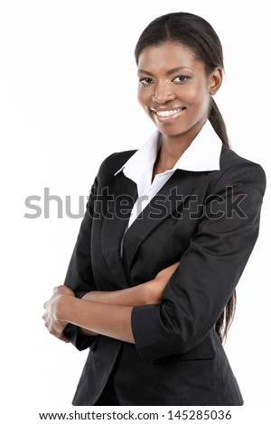 Portrait of a cheerful young African American businesswoman with hands folded.  Isolated on white - stock photo