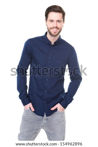 Portrait of a cheerful young man smiling on isolated white background