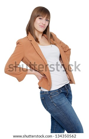 Portrait of a cheerful young woman - stock photo