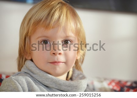 Portrait of a child aged three years old - stock photo
