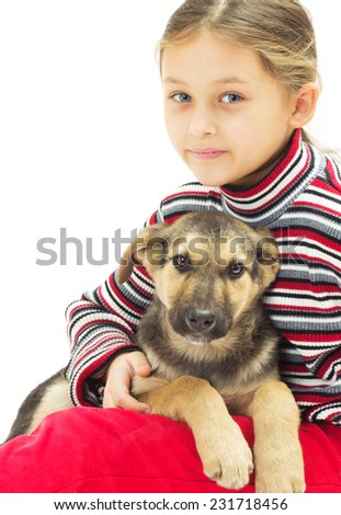 portrait of a child and a dog on a white background - stock photo