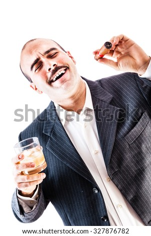 portrait of a classy businessman toasting with a glass of whiskey and smoking a cigar isolated over a white background - stock photo
