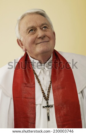Portrait of a clergyman with his eyes to heaven - stock photo