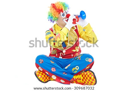 Portrait of a clown isolated on white background - stock photo