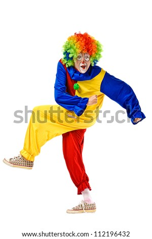 Portrait of a clown over white background