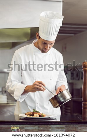 Portrait of a concentrated male chef garnishing food in the kitchen - stock photo