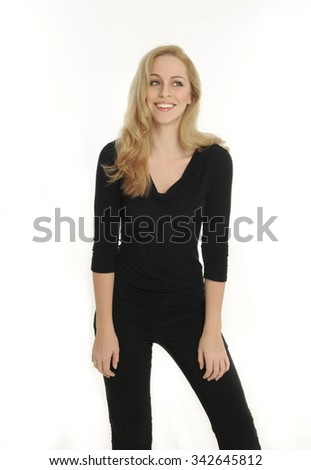 portrait of a confident and beautiful blonde woman, laughing and looking away. isolated on white background.