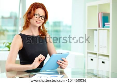 Portrait of a confident business woman with copyspace - stock photo