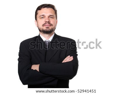 Portrait of a confident caucasian business man with hands folded on white background - stock photo