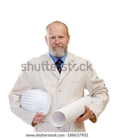 Portrait of a confident engineer holding the blueprint - stock photo