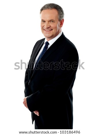 Portrait of a confident looking happy matured businessman against white background