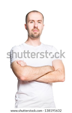 Portrait of a confident man in white t-shirt isolated on white - stock photo