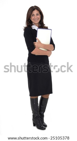 Portrait of a confident mature businesswoman with hands folded isolated on white background