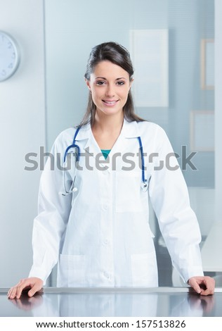 Portrait of a confident woman doctor in her office - stock photo