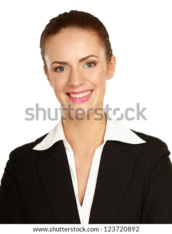 Portrait of a confident young woman standing isolated on white background. - stock photo