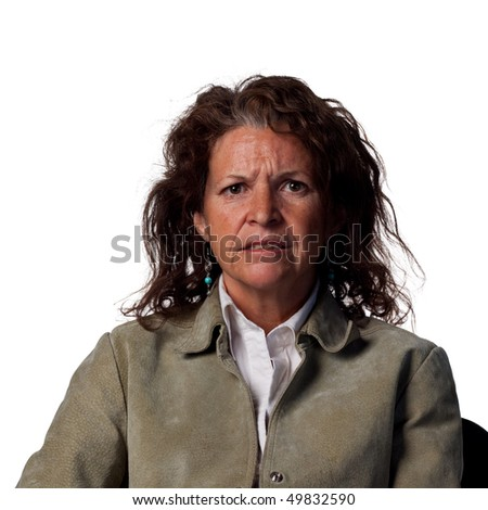 portrait of a confused woman - stock photo