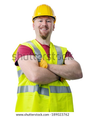portrait of a construction worker isolated on a white background - stock photo