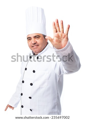 portrait of a cook man doing a number five - stock photo