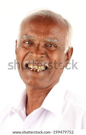 Portrait of a cool & happy Asian/Indian old man. - stock photo
