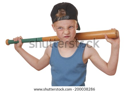 Portrait of a cool young boy with baseball bat on white background - stock photo