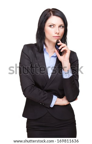 Portrait of a cool young businesswoman isolated on white.