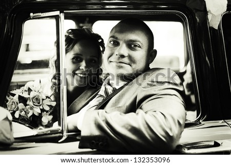 Portrait of a couple, husband and wife, wedding - stock photo
